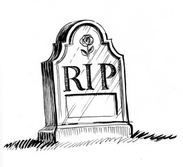 Tomb stone with a RIP letters. Black and white ink illustration