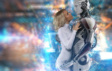 Human and robot relationship concept, attractive blue-eyed blonde wearing white bodysuit, gently embracing a male cyborg, looking into his eyes