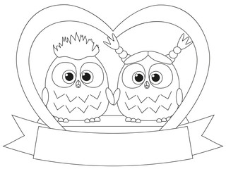 Black and white valentine day poster with an owl couple.