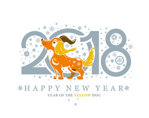 Dog. Beautiful New Years card with a puppy, snowflakes and numbers. Dog, symbol of 2018 on the Chinese calendar.