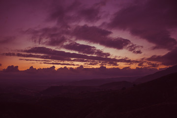 Mountain. Sunset landscape. Costa del Sol, Andalusia, Spain.