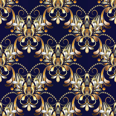 Vintage floral seamless pattern. Dark blue vector background with hand drawn gold paisley flowers, swirls, lines, leaves, circles, dots. Damask ethnic ornaments. Design for wallpapers, fabric, prints
