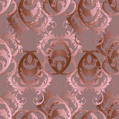 Baroque vector seamless pattern. Floral vintage light pink monochrome damask background. Flowers, scrolls, leaves, dots, antique ornaments in baroque style. Elegance wallpaper. Surface luxury texture
