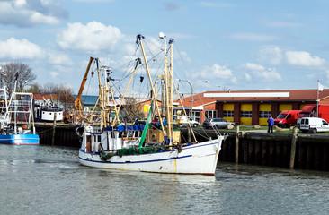 Krabbenkutter im Kutterhafen von Büsum in Schleswig-Holstein, Küstenfischerei an der Nordseeküste