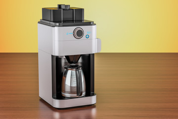 Modern coffeemaker or coffee machine on the wooden table. 3D rendering