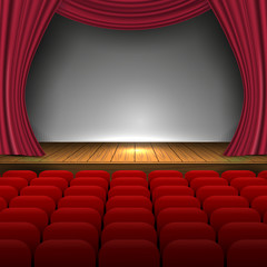 Premium open red curtains theater background with glittering stars or opera background with spotlight design template, performance or event premiere poster. Vector Illustration