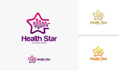 Health Star logo designs concept, Bright Pulse logo designs template