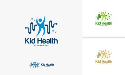 Kid Care logo designs concept, Child Health logo template vector, Happy Kid logo