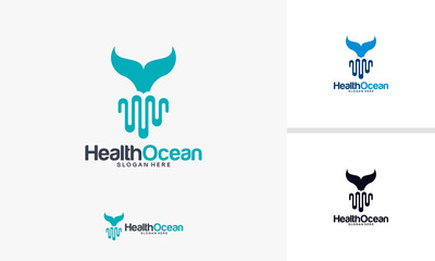 Health Ocean logo designs concept, Whale and Pulse logo designs template