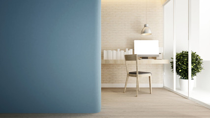 workplace brick wall and empty space blue wall in home or apartment - Interior design for artwork - 3D Rendering