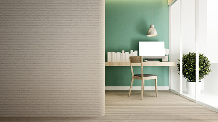 workplace green wall and empty space in home or apartment - Interior design for artwork - 3D Rendering.
