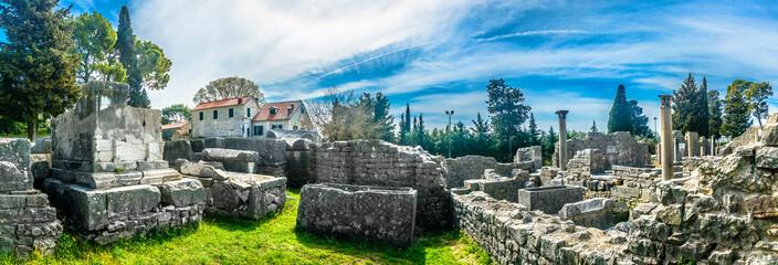 Salona landscape panorama scenery. / Panorama of old public cemetery from roman times in Croatia, Salona in suburb of town Split, european landmarks.