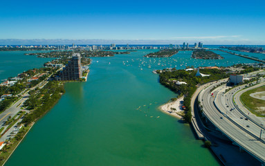 Aerial image Miami Beach Biscayne Bay Florida