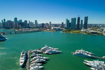 Aerial image yachts at Downtown Miami Florida