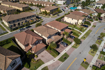 Aerial video of residential single family homes