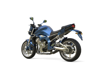 Awesome metallic blue modern motorcycle - tail view