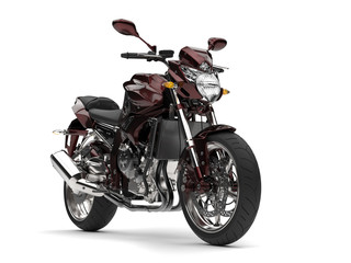 Beautiful metallic dark red modern sports motorcycle