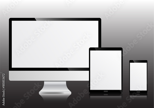 Realistic modern device mockup isolated on white background. PC ...