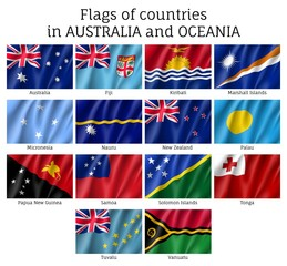 Australia and Oceania flags realistic style set. Collection of national symbols. Vector illustrations of tribes, aborigines, peoples, pacific ocean concept
