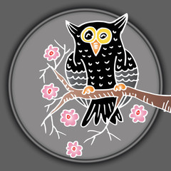 Hand drawn Owl sitting on branch