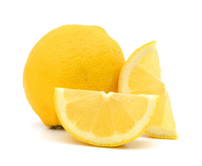 yellow Lemon and slice on a white background