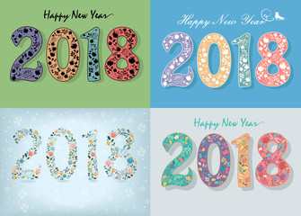 New Years Specific Cards with Floral Numbers 2018