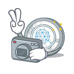 Photographer Qtum coin character cartoon