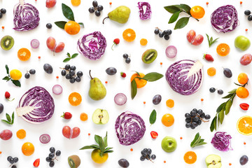 Fototapete - Composition pattern made from fresh vegetables and fruits isolated on white background.  Top view, flat design. Food texture (red cabbage in a cut, plums, grapes, mandarins, pears, apples)