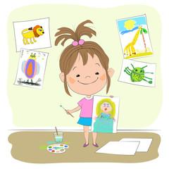 Векторная иллюстрация с изображением маленькой радостной девочки, которая держит в одной руке нарисованный рисунок принцессы, а в другой руке - кисточку с краской.