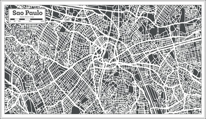 Sao Paulo Brazil City Map in Retro Style. Outline Map.