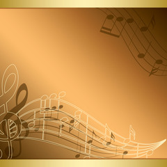 bright background with music notes - vector flyer
