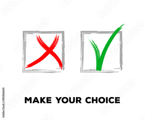 Yes And No Vector Set Square Frames Isolated Hand Painted Election