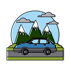 Car sideview vehicle between mountains landscape icon vector illustration