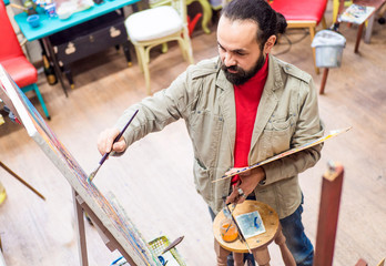 up view of artist create his picture in studio