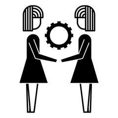 two businesswomen holding gear teamwork concept vector illustration