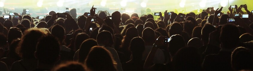 many people while using smart phone at live concert