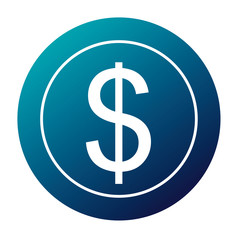 dollar money currency cash icon vector illustration  blue image