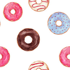Watercolor tasty donuts pattern