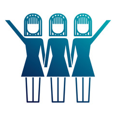 three women holding hands teamwork successful vector illustration  image