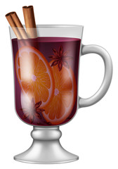Glass of mulled wine with assorted spices and orange. Vector illustration.
