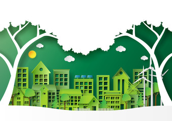 Nature landscape of green eco friendly cityscape.For environment conservation creative idea concept design paper art style.Vector illustration.