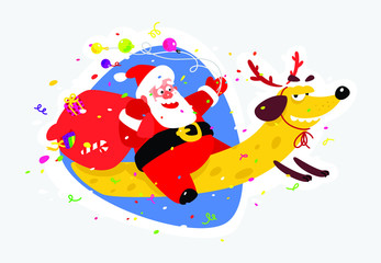Lovely Santa Claus on a yellow dog. Chinese New Year and Christmas. Vector illustration isolated on white background. Suitable for printing and the web.