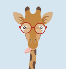 Portrait Giraffe with glasses