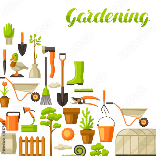 Delicieux Background With Garden Tools And Items. Season Gardening Illustration
