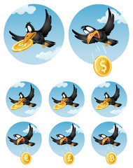 The flying crow drops symbol of different currencies. Dollar, euro, pound sterling and bitcoin. Elements is grouped and divided into layers. No transparent objects.