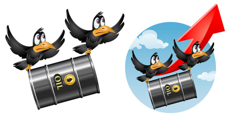 Flying funny crows carries a barrel of oil. Cartoon styled vector illustration. On sky background and isolated on white. Elements is grouped. No transparent objects.