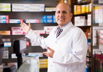 proficient specialist in chemist's shop