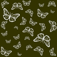 Silhouettes of white butterflies