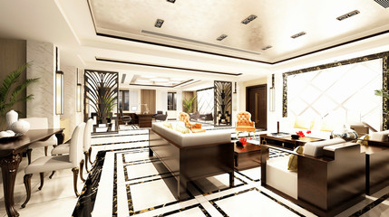 3d render of interior design