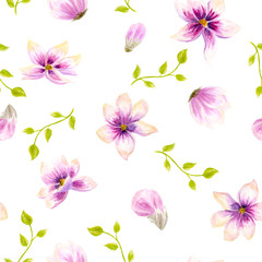Watercolor seamless wallpaper with flowers, bohemian watercolour decoration pattern. Design for invitation, wedding or greeting cards